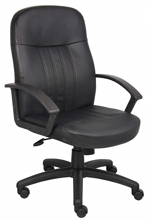 Boss black leather mid back executive chair